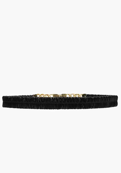Skinny Gold Link Belt - Black