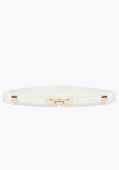 Gold Buckle Skinny Belt - White