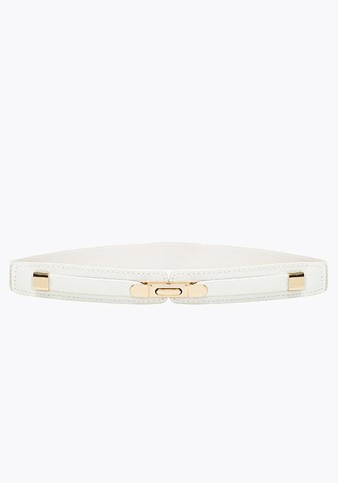 Gold Buckle Skinny Belt - White