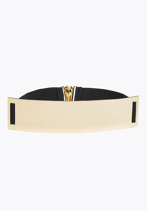 Wide Gold Elastic Belt - Black