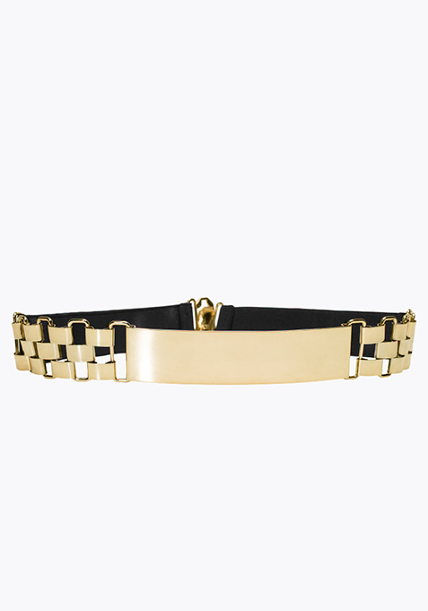 Gold Link Elastic Belt - Black