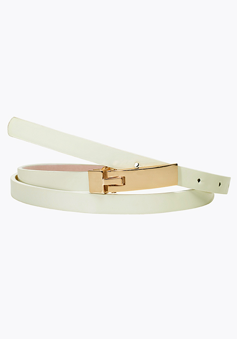 Skinny Couturier Belt – White