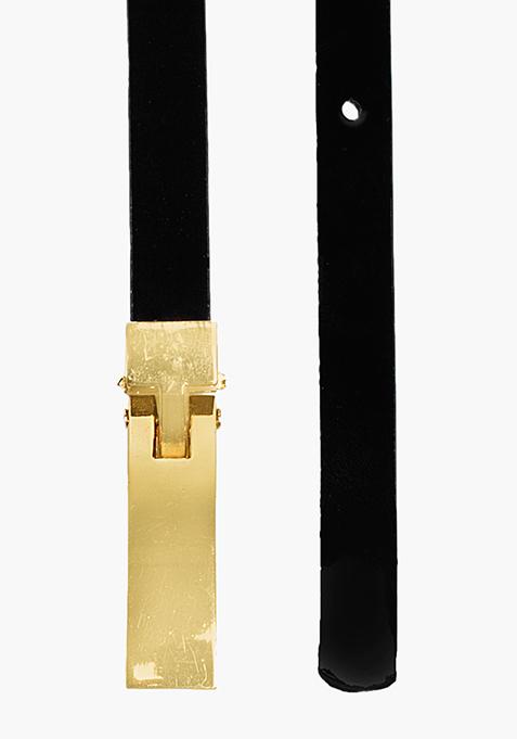 Skinny Couturier Belt – Black