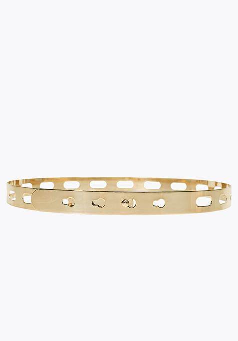Skinny Embossed Plate Belt