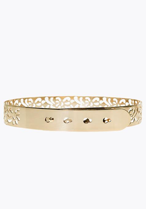 Gold Waist Clinch Belt - Floral