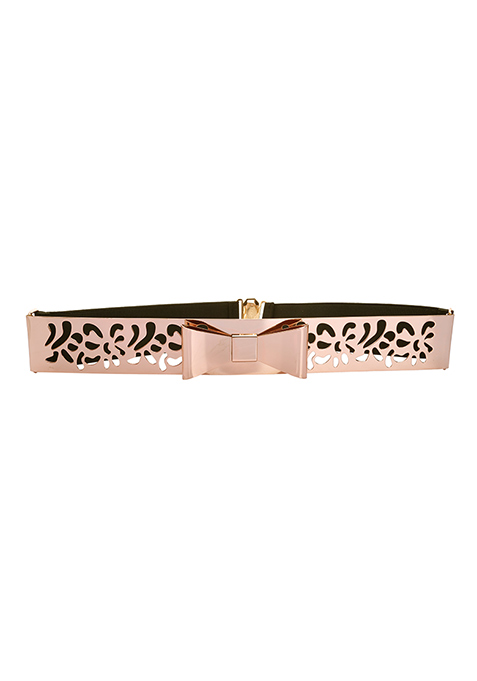 Gold Bow Cutout Metal Waist Belt