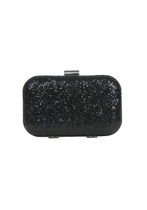 Black Glitter Box Clutch