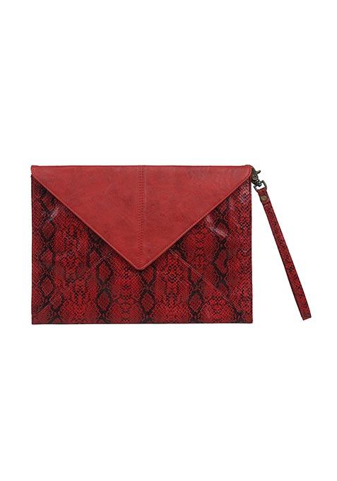 Red Python Envelope Clutch