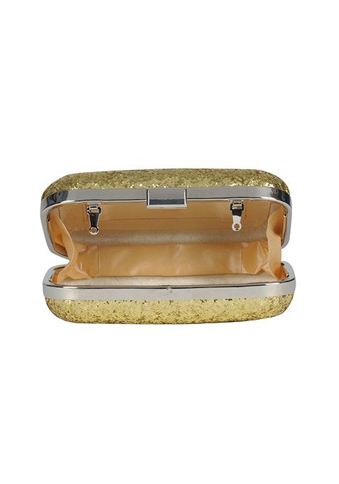 Gold Glitter Box Clutch
