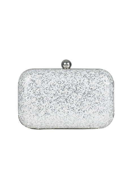 Silver White Glitter Box Clutch