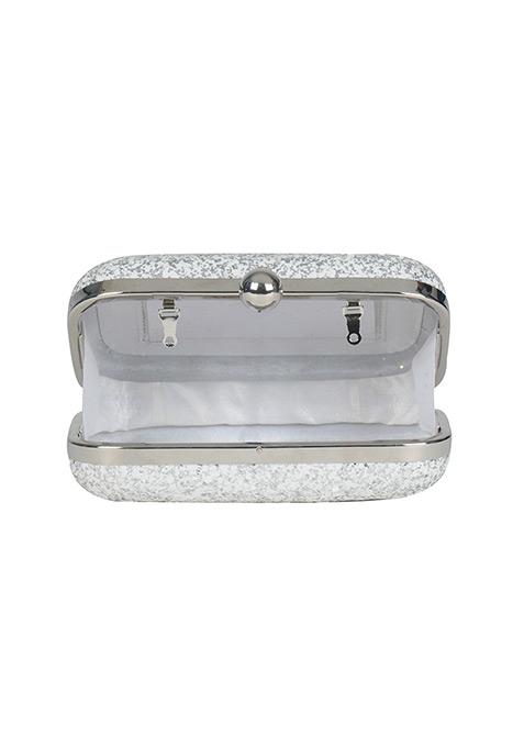 Silver White Glitter Box Clutch