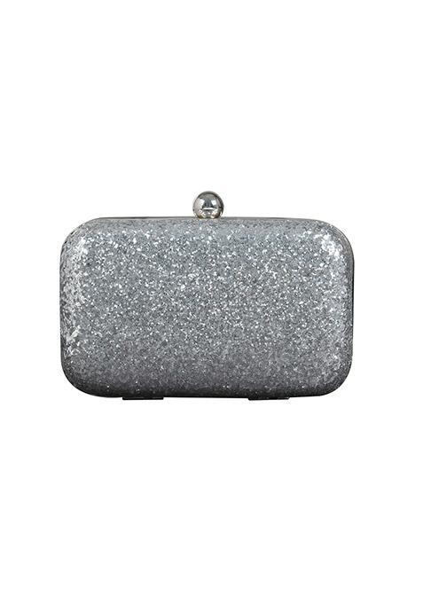 Silver Glitter Box Clutch