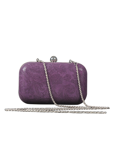 Purple Paisley Print Clutch
