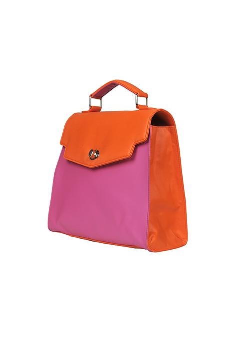 Pink Orange Colorblock Satchel