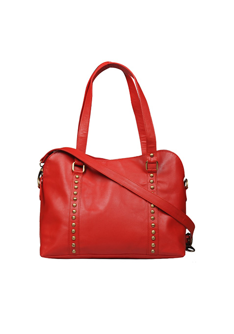 Studded Red Tote Bag