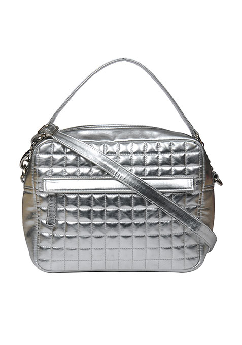 Silver Quilted Cosmetic Bag