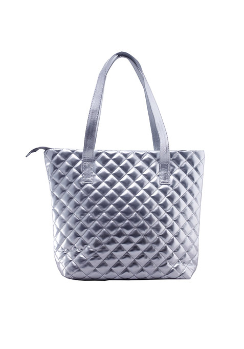 Metallic Silver Quilted Tote