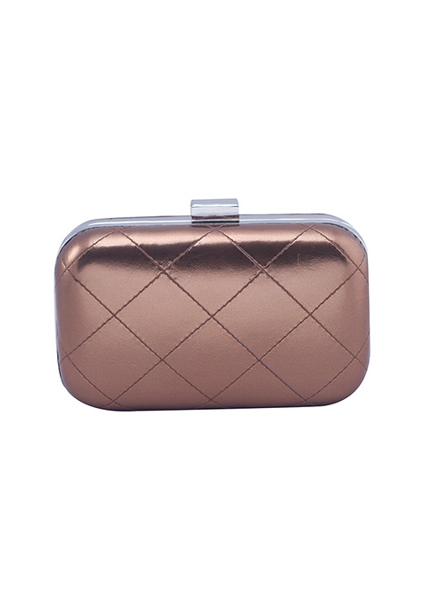 Bronze Quilted Box Clutch