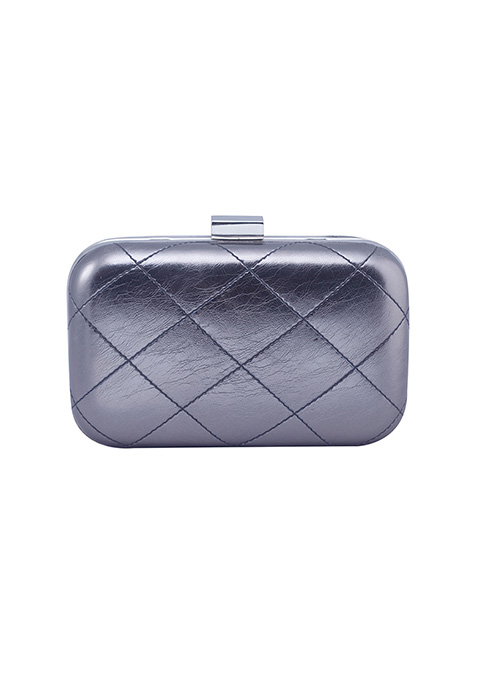 Gunmetal Quilted Box Clutch