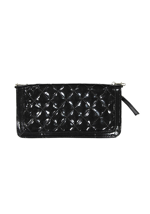 Black Shine Quilted Clutch