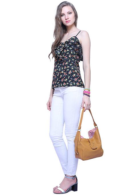 Tan Studded Hobo Bag
