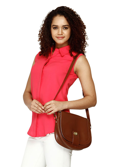 Front Flap Brown Crossbody Bag