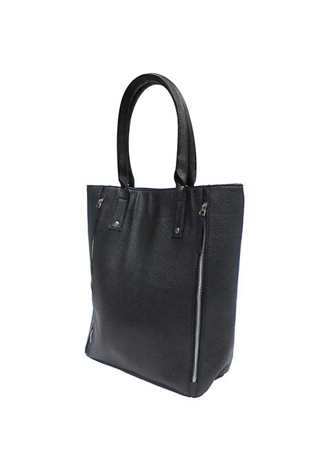 Zipped Side Black Tote Bag