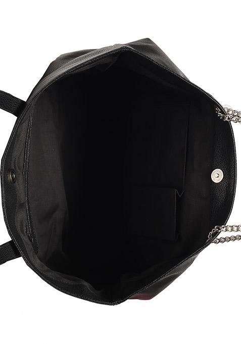 Black Dual Zipper Shoulder Bag