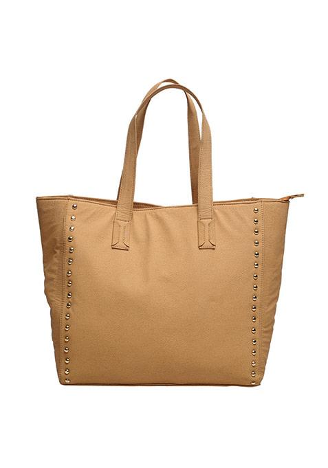 Beige Studded Tote Bag
