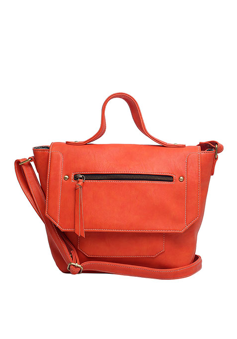 Orange Trapeze Satchel Bag