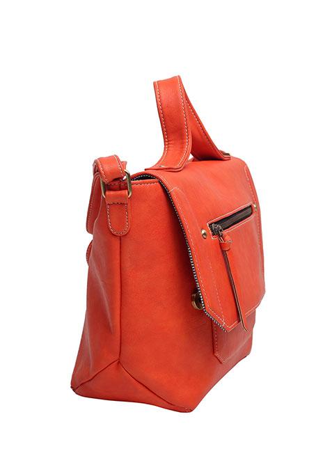 Orange Trapeze Satchel Bag