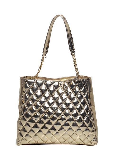 Dark Gold Quilted Shoulder Bag