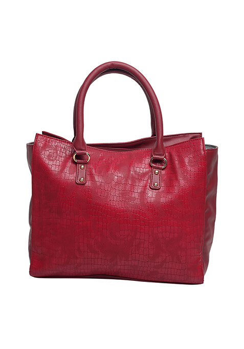 Oxblood Croco Tote Bag