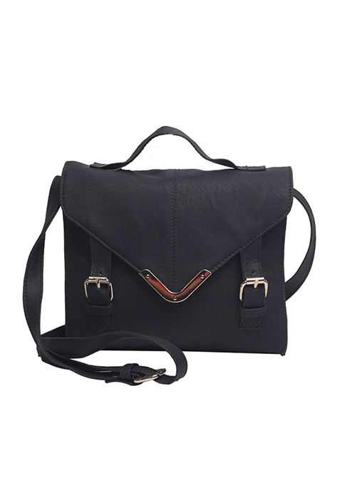 Black Front Flap Satchel Bag
