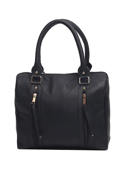 Dual Zip Black Bowler Bag