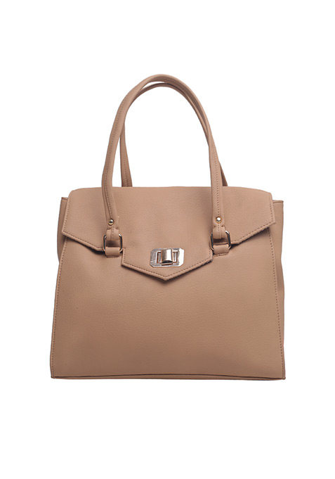 Orange Edged Beige Satchel Bag