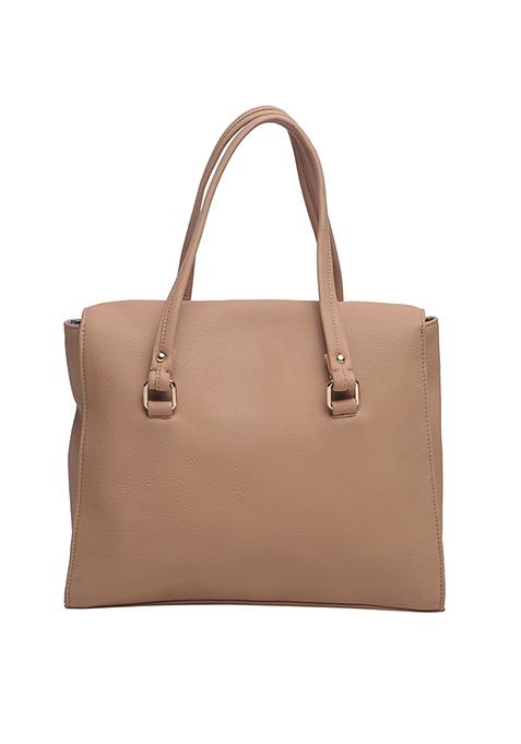 Orange Edged Beige Satchel Bag
