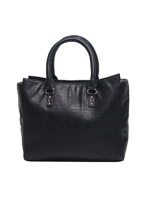Black Croco Twin Handle Bag