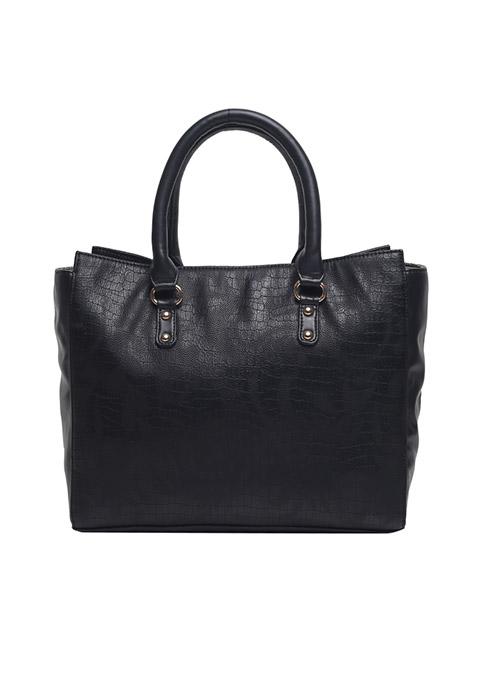 Black Croco Twin Handle Bag