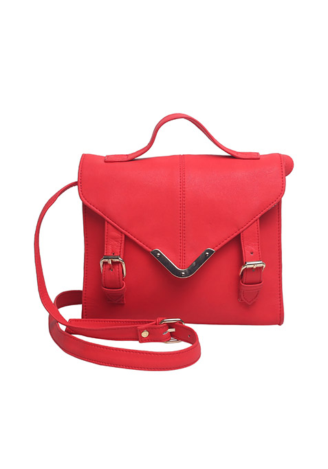 Red Front Flap Satchel Bag