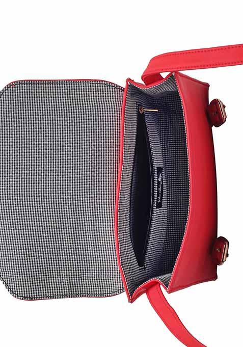 Red Front Flap Satchel Bag