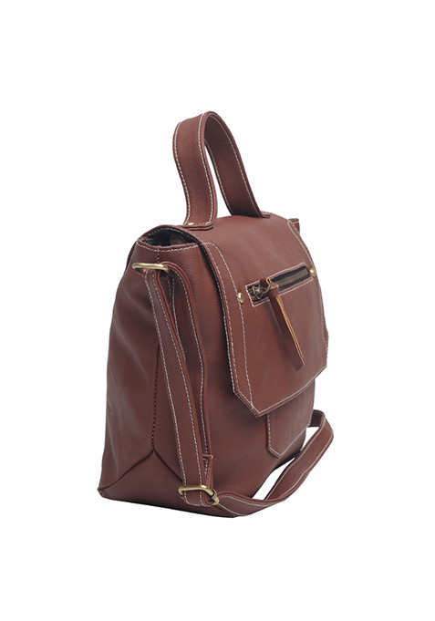 Tan Trapeze Satchel Bag