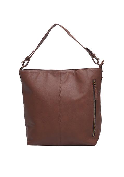 Tan Side Zip Hobo Bag