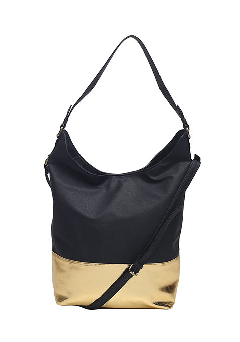 Black Gold Slouchy Hobo Bag