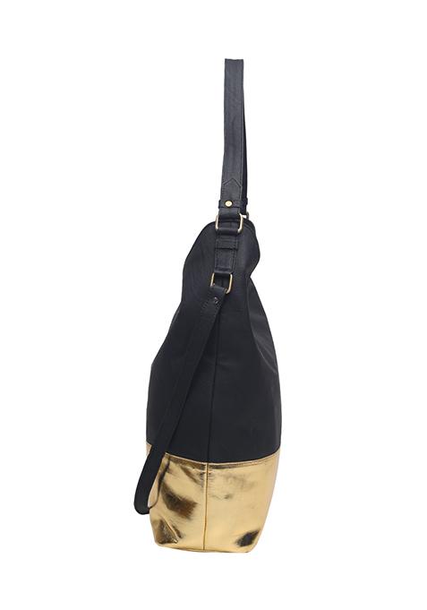 Black Gold Slouchy Hobo Bag