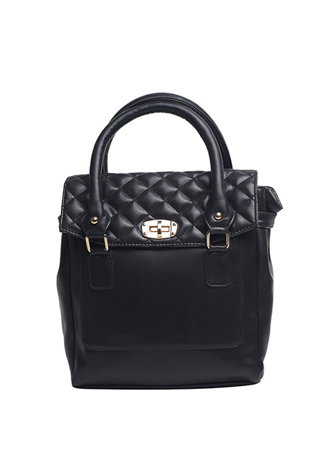Black Quilted Backpack Handbag