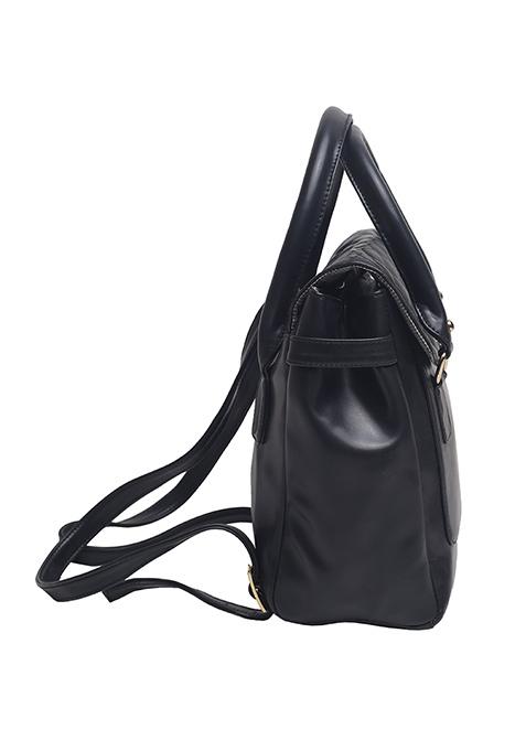 Black Quilted Backpack Handbag