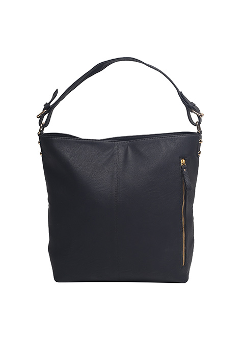 Black Side Zip Hobo Bag