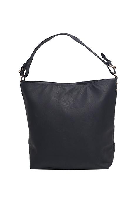 Black Side Zip Hobo Bag