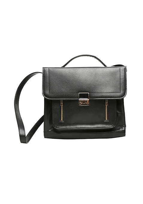 Black Zipped Thru Satchel Bag